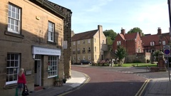 Great Britain England Northumberland Alnwick downtown cityscape with a bend Stock Footage