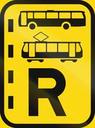 Temporary road sign used in the African country of Botswana - Reserved lane f Stock Illustration