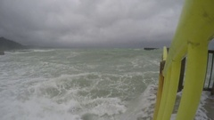 Hurricane Storm Surge Waves Crash Into City Waterfront Stock Footage