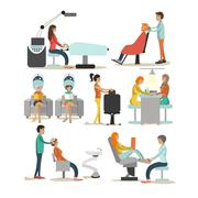 Vector set of beauty salon characters isolated on white background. Haircut Stock Illustration
