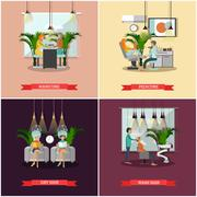 Beauty salon vector concept banners. Haircut, manicure and make up atelier Stock Illustration