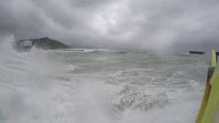 Large Storm Surge Waves Crash Into Camera Stock Footage