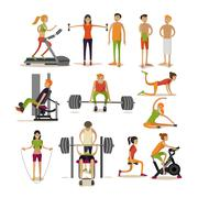 Vector set of people in gym characters isolated on white background. Fitness and Stock Illustration