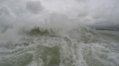 Large Hurricane Storm Surge Waves Knock Camera Over Stock Footage