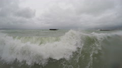 Hurricane Storm Surge Waves Crash Into Camera On Waterfront Stock Footage