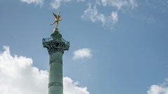 Paris. Place de la Bastille. July Column with Spirit of Freedom statue Stock Footage
