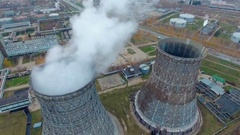 Aerial view of power plants, thermal power station. Smoking pipe at industrial Stock Footage