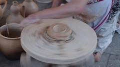 Molding Mud in Traditional Pottery Stock Footage
