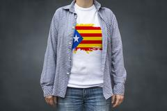 Independent Catalonia flag print on T-shirt. Stock Photos
