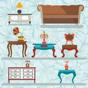 Interior Icons Set in Retro style with a gramophone, tables, sofa Stock Illustration