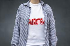 Patriotism print on t-shirt, political message. Stock Photos