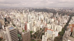 Sao Paulo Skyline Jardins Ibirapuera 4KDrone Stock Footage