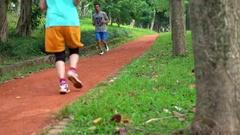 4K Runner running people jogging in Taipei city Daan park. healthy lifestyle-Dan Stock Footage