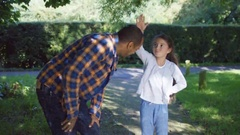 4K Happy smiling father & daughter spending time together outdoors Stock Footage