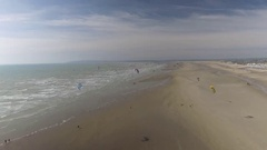 Kitesurfing Groups on a Beach From Above Stock Footage