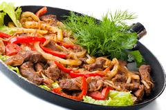 Traditional mexican beef fajitas Stock Photos