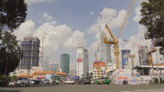 SAIGON, VIETNAM - The area in Ho Chi Minh City. Skyscrapers Stock Footage