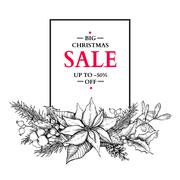 Christmas  sale banner with garland. Vector hand drawn illustrat Stock Illustration