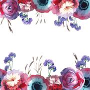 Wildflower rose flower frame in a watercolor style isolated. Stock Illustration