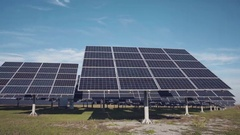 Large solar panel arrays on ground Stock Footage