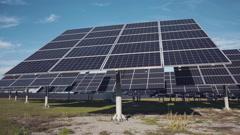 Large solar panel arrays on ground Stock Footage