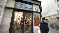 Rue des Gravilliers in Marais, Paris, France fashion store Stock Footage