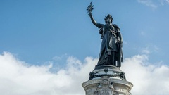 Paris. The Place de la Republique. Bronze statue of Marianne Stock Footage