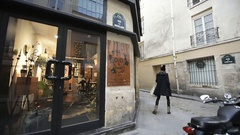 Rue des Gravilliers in Marais, Paris, France fashion store Stock Footage