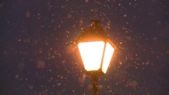 Falling snow in the light of a street lamp. Stock Footage