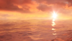 Moving waves of sea surface in the wonderful sunset Stock Footage