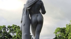 Marble Statue  at Pavlovsky Park. Back View Closeup Stock Footage