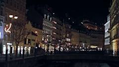 Karlovy Vary Night quay. Stock Footage