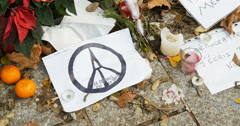 Paris peace sign Bataclan, Paris France Stock Footage