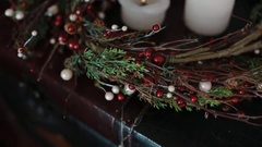 Chrismas decoration with cadnles Stock Footage