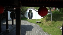 4K Chinese Garden designs in the Lin An Tai Historical House and Museum -Dan Stock Footage