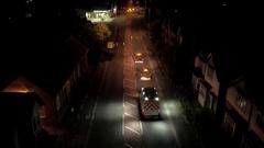 Highways Repair Vehicles in Urban Area at Night Stock Footage