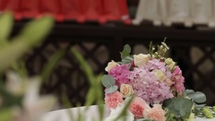 Table for the wedding ceremony. Beautiful flower decoration Stock Footage