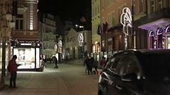 Karlovy Vary Night streets of the city. Stock Footage