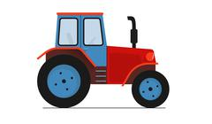 Red blue Tractor isolated on white flat vector illustration Piirros