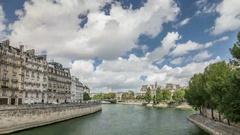 Paris. River Seine. View from Saint-Luis bridge Stock Footage