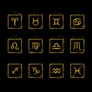 Zodiac signs gold icons Stock Illustration