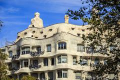 Casa Mila by Antonio Gaudi, Barcelona, Spain Stock Photos