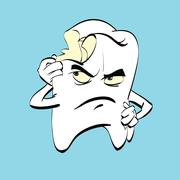 The aching tooth with caries, a comic book character Stock Illustration