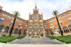 Hospital of the Holy Cross and Saint Paul by A. Gaudi, Barcelona Stock Photos