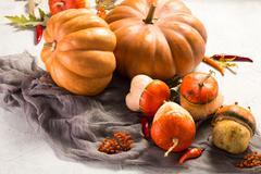 Autumn Pumpkin Thanksgiving Background - orange pumpkins over wooden table Stock Photos