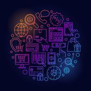 E-commerce colorful round illustration Stock Illustration