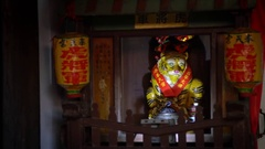 4k Detailed yellow Tiger Statue inside of Asia Buddhist Temple In Taiwan. -Dan Stock Footage