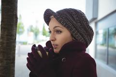 Woman shivering with cold Stock Photos