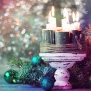 Christmas decoration on abstract background,vintage filter,soft focus Stock Photos