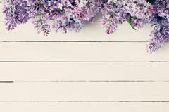 Vintage floral background with lilacs Stock Photos